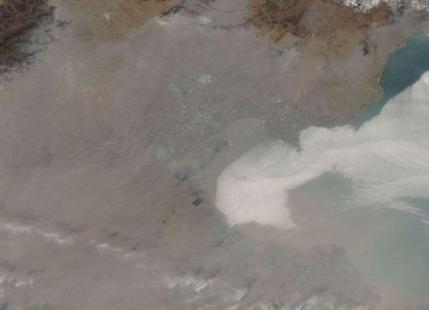 Image par satellite de  la pollution à Pékin